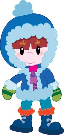 Kleiner Junge in Winterkleidung