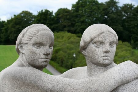 OSLO, NORWAY - AUGUST 8: Statues in Vigeland park in Oslo,Norway at August 8, 2010. Park covers 80 acres and features 212 bronze andgranite sculptures created by Gustav Vigeland.