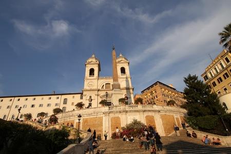 monti: Piazza di Spagna (Spanish Steps) and church Trinita dei Monti 20.04.2010