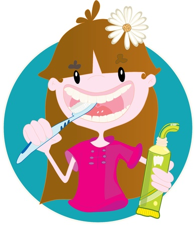 toothpaste tube: Cute girl washing teeth