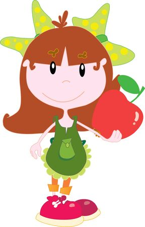 Little girl with an apple Vector