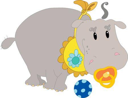 cartoon hippo: Little hippo