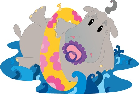 cartoon hippo: Baby hippo in water Illustration