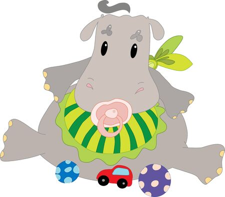Hippo with toys Vector