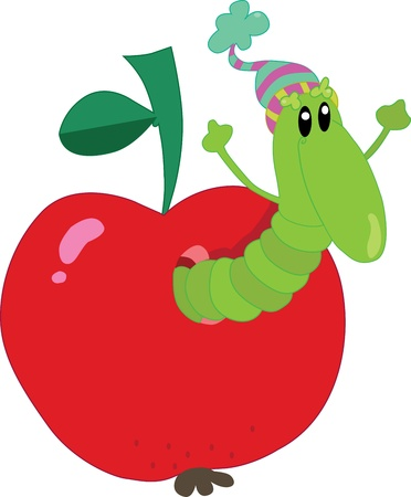 Worm in an apple Stock Vector - 19143771