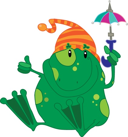 Frog with umbrella Vector