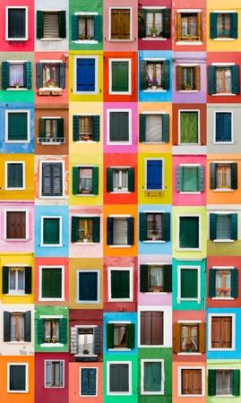 Colorful windows from Burano island, Italy Stock Photo - 19296298
