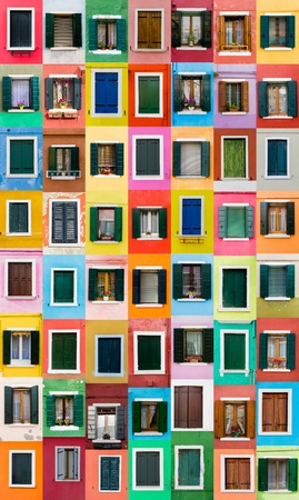 many windows: Colorful windows from Burano island, Italy