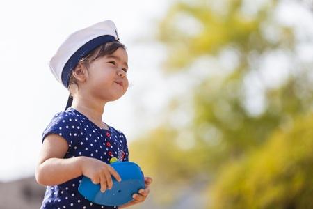 sailor girl: Little sailor girl Stock Photo