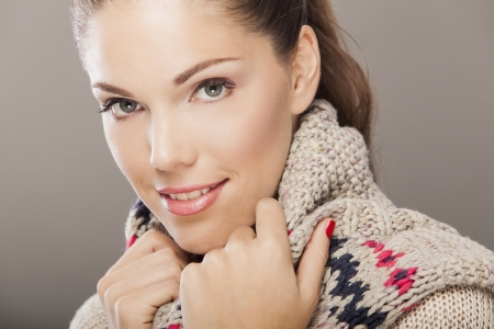 winter sweater: Young woman in winter clothes