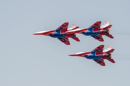 september 2: Acrobatic aircrafts Mig-29 on the Airshow Batajnica 2012 in Belgrade, Serbia on September 2, 2012. Editorial