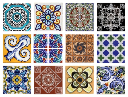 spanish tile: Detail of the traditional tiles  azulejos  from facade of old house in Valencia, Spain Stock Photo