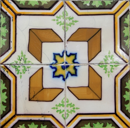 Detail of the traditional tiles  azulejos  from facade of old house in Lisbon, Portugal photo