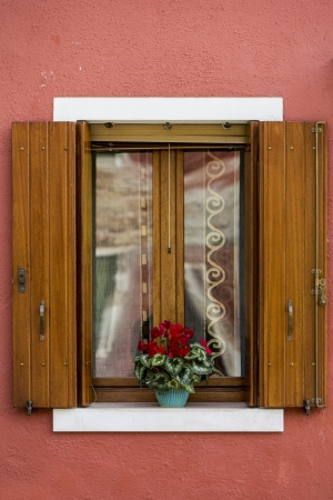 Colorful windows from Burano island, Italy photo