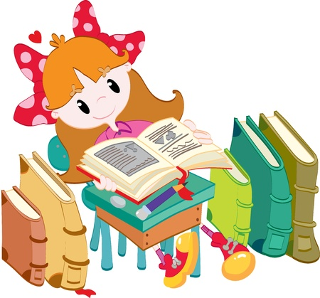 Little girl with books Vector
