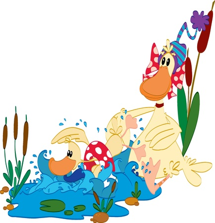 Little duck learn to swim Vector