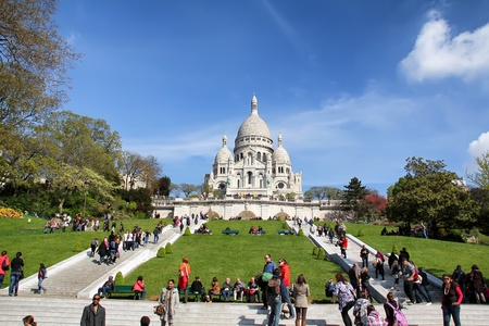 Paris, France - April 13, 2012: Sacreour Basilica is a Roman Catholic church and minor basilica, dedicated to the Sacred Heart of Jesus, in Paris, France. Construction began in 1875 and was finished in 1914.