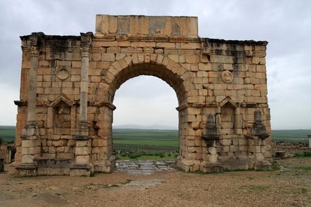 volubilis: Triumphal arc in Volubilis, Morocco