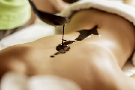 chocolat chaud: Massage au chocolat chaud Banque d'images