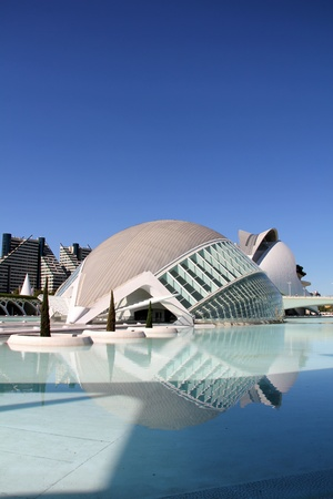 View at The City of Arts and Sciences in Valencia, Spain. It is designed by Santiago Calatrava and Felix Candela and finished at 1998.