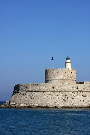 rhodes: Lighthouse on Rhodes island, Greece