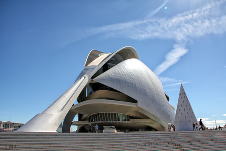 felix: Valencia, Spain - September 30, 2012  View at Opera house and Performing arts center at the City of Arts and Sciences in Valencia, Spain  It is designed by Santiago Calatrava and Felix Candela and finished at 1998  Editorial