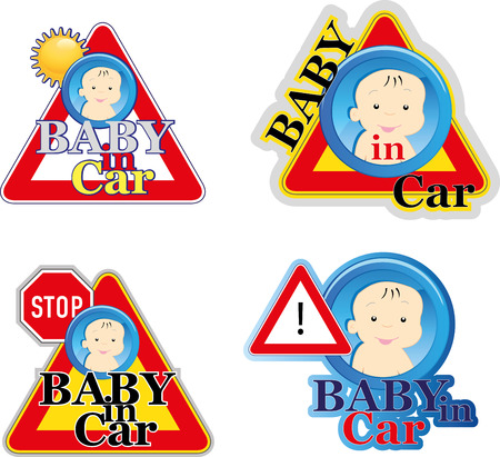 baby stickers: Baby on board sign Illustration