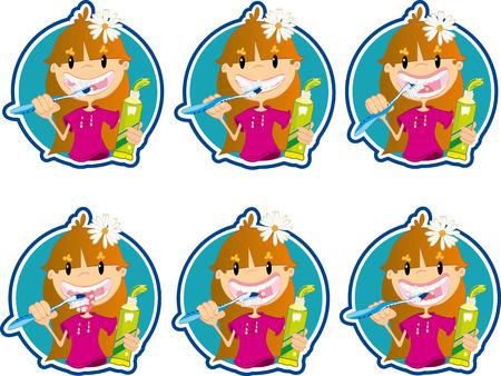 wash hand stand: Little girl washing teeth Illustration