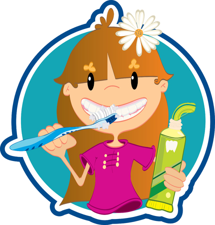 Little girl washing teeth Vector