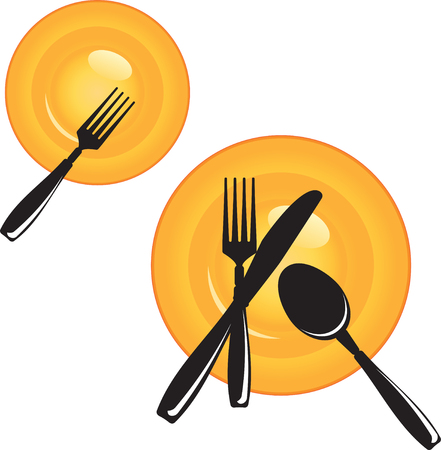 Plate with Cutlery Illustration