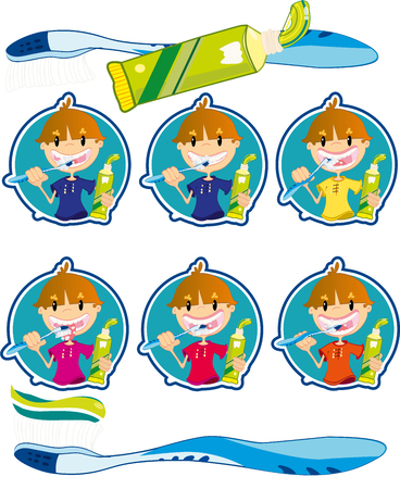Cute little boy washing teeth Stock Vector - 22364221