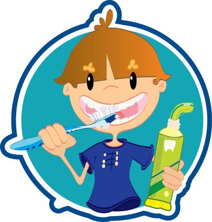 Cute little boy washing teeth Vector