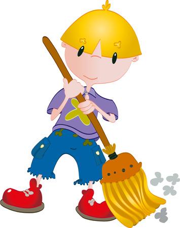 Boy clean with broom Vector