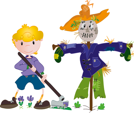 Boy and scarecrow Vector