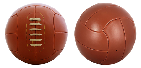 Vintage football ball  isolated on white  photo