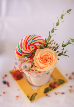 Decoration of flower and candy  photo