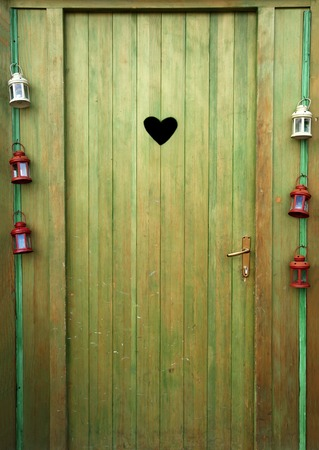 Vintage door with heart shape  photo