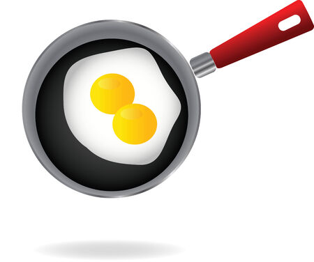 Fried egg on a pan illustration  Vector
