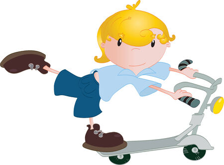 Boy on the scooter Vector