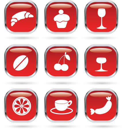 Food and drink red icons set Vector