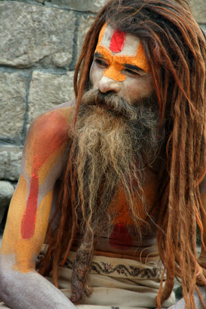 Kathmandu, Nepal - August 8, 2008  Sadhu at Pashupatinath Temple at August 8, 2008 in Kathmandu, Nepal  There are 4 or 5 million sadhus in India today