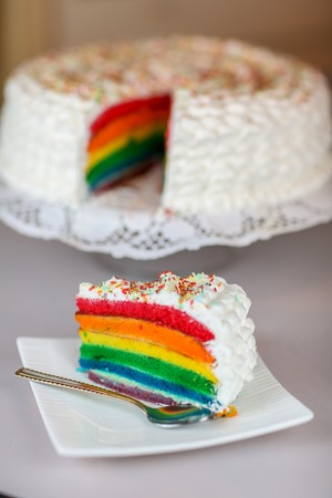 lgbt: Colorful rainbow cake  Stock Photo