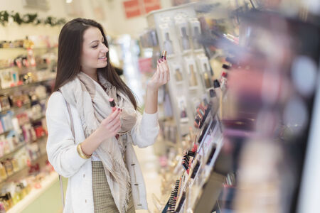 perfumery: Young woman in perfumery Stock Photo