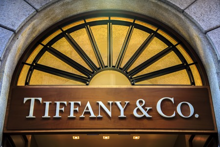 MILAN, ITALY - MARCH 9, 2014: Detail of Tiffany & co. shop in Milan. It  is an American multinational luxury jewelry and specialty retailer founded at 1837.