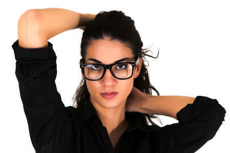 Pretty young woman with glasses photo