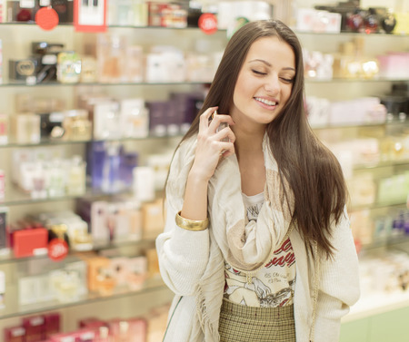 Young woman in perfumery Stock Photo