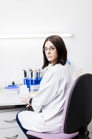 Young woman in the medical laboratory Stok Fotoğraf