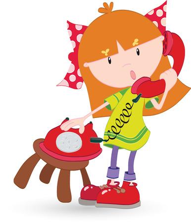 ragazza al telefono: Ragazza che comunica sul telefono Vettoriali