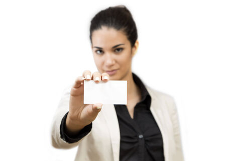 Young woman holding a blank card photo