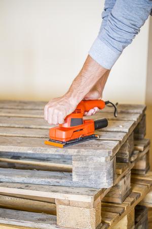 Wood sanding Stock Photo